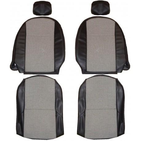 ensemble 2 garnitures sièges tissu pied de poule/simili noir triumph spit fire MK4 1500