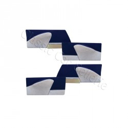 ensemble 4 panneaux de portes ds velours bleu/simili gris clair