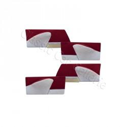 ensemble 4 panneaux de portes velours rouge/simili gris clair