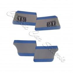 ensemble 4 panneaux de portes tissu gris écorce/simili bleu Peugeot 403 berline