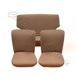 ensemble garnitures de sièges complet tissu écorce marron/skai marron renault 4cv