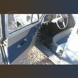 ensemble 4 panneaux de portes bitons tissu bleu/simili gris aronde P60