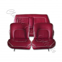 ensemble garnitures sièges complet simili rouge passepoil blanc jaguar MK2